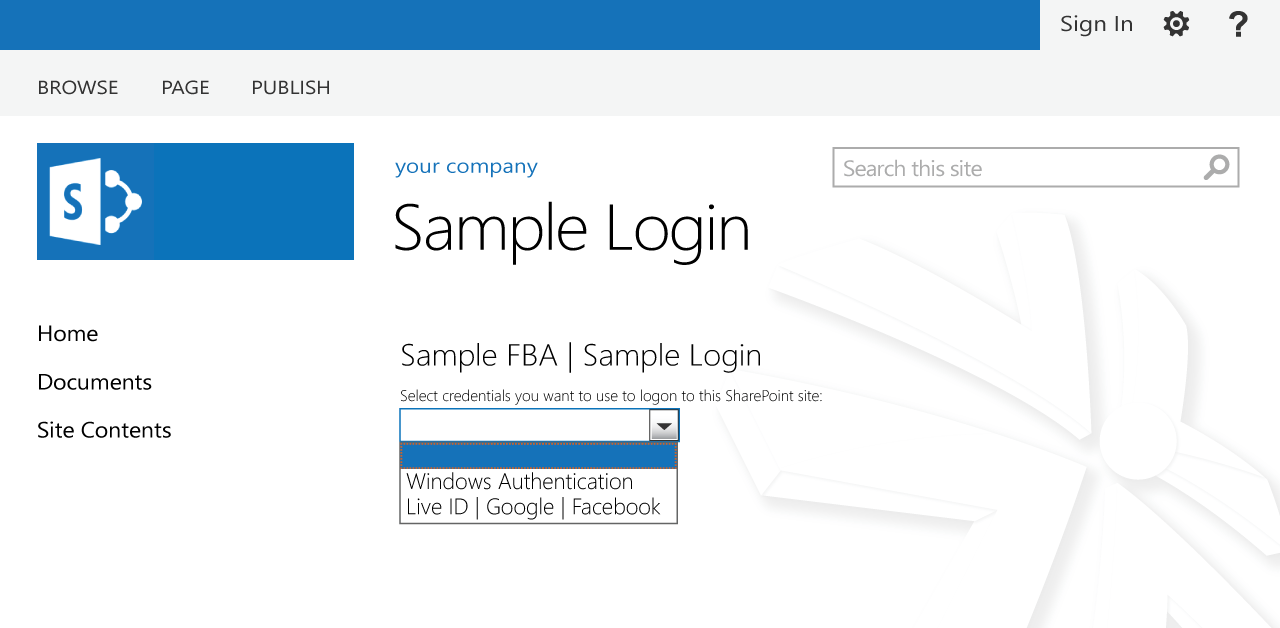 sample external login sharepoint screen